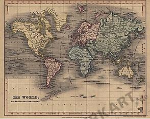 1838 - The World on Mercators Projection (Replikat)