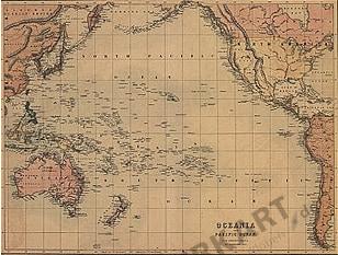 1865 - Ozeanien, Pazifischer Ozean (Replikat) 62 x 45cm