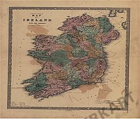 1840 - Map of Ireland with the railways (Replica)