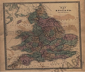 1840 - Map of England with the railways