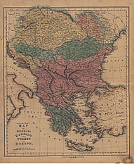 1840 - Map of Greece Hungary and Turkey in Europe