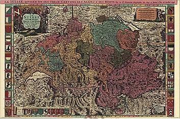 1696 - La Suisse Divisee en ses Treze Cantons, ses Alliez & ses (Replica)