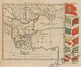 1793 - Türkei in Europa mit Flaggen 21 x 21cm