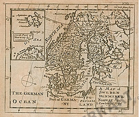 1744 - Schweden, Dänemark und Norwegen (Replikat) 15 x 15cm