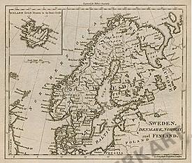 1795 - Schweden, Dänemark, Norwegen und Finnland 27 x 21cm (Replikat)