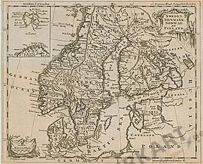 1757 - Schweden, Dänemark, Norwegen und Finnland 25 x 20cm