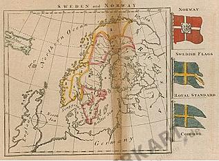 1793 - Schweden und Norwegen mit Flaggen 23 x 21cm