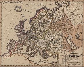 1856 - Europa zur Übersicht der Flussgebiete und Höhenzüge