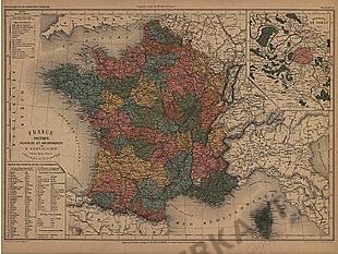 1801 - 1865 - France Politique Provinces et Departements (Replica)