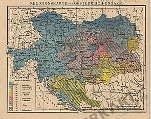 1881 - Religionskarte von Oesterreich - Ungarn (Replica)