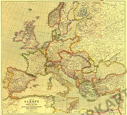 1915 Europa Karte mit Afrika und Asien 71 x 79cm