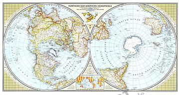 1943 Nördliche und Südliche Hemisphäre 104 x 56cm