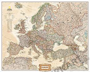 Europa Landkarte Poster im Riesenformat von National Geographic