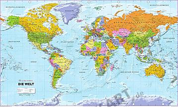 Politische Weltkarte als Vliestapete deutsch 300 x 184cm