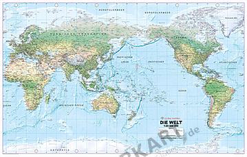 Verdenskort fysisk Stillehavet centreret XL tysk 198 x 121cm