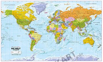 Political World Map in German language 1: 20Mio