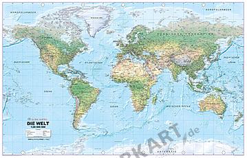 Weltkarte physikalisch in deutscher Sprache 195 x 125cm