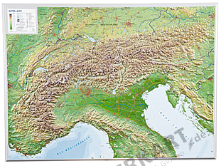3D Raised Relief Alps Map
