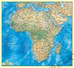 Afrika Kort fysisk engelsk 100 x 92cm