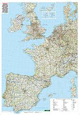 Westeuropa Straßenkarte kaufen - West-Europa Karte als Poster