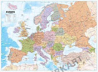 Europa kort politisk tysk 120 x 89cm
