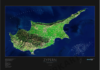 Cyprus Satellite Poster Map