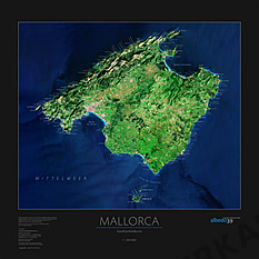 Mallorca Poster - Satellite Map poster of Mallorca