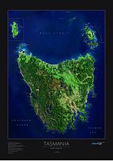 Tasmanien Poster Tasmanien Satelliten Karte als Poster