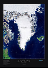 Greenland Poster Greenland Satellite Wall Map