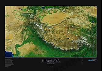 Himalaya Poster Satelliten Karte