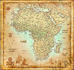 Afrika Kort Antik 105 x 100cm