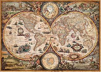 Vintage Hemisphere Weltkarte englisch 136 x 96cm