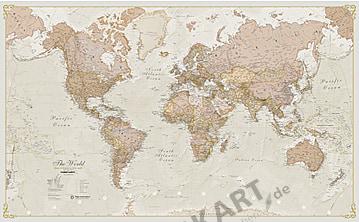 World Map political antique english 136 x 84cm