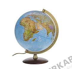 Doppelbild Globus 30cm, mit Holzfuß und Metallmeridian