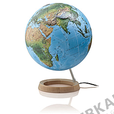 Illuminated relief globe 30cm with circular wooden base
