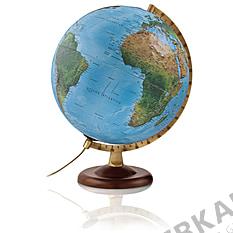 Illuminated relief globe 30cm with dark brown wooden base