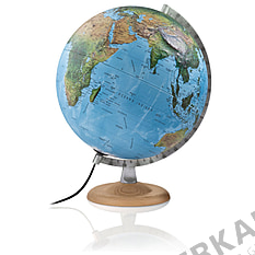 Illuminated relief globe 30cm with bright wooden base