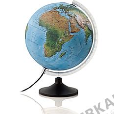 Illuminated relief globe 30cm with dark plastic base