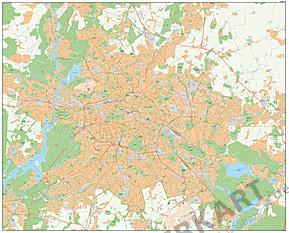 Berlin Postleitzahlen Karte (PLZ) mit Straßen 182 x 147cm
