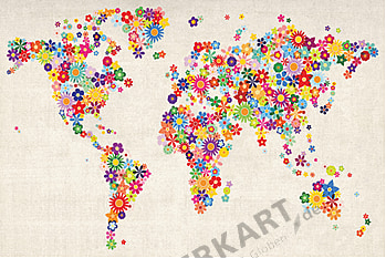 World Map with Flowers 100 x 65cm
