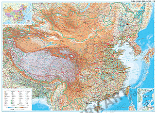 China geografische Landkarte 122 x 88cm
