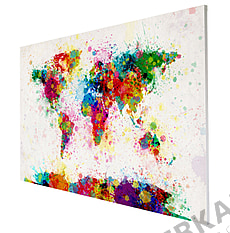 Side view of the world map paint splashes on canvas