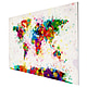 Seitenansicht der Weltkarte Farbkleckse (Paint Splashes) auf Leinwand.