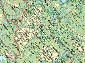 Russia Map Physical Cyrillic 120 X 80cm