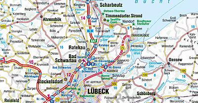 Strassenkarte Schleswig Holstein Hamburg 115 X 106cm