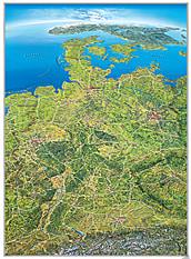 Panorama Map Germany large size German 130 x 175cm