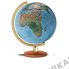 Illuminated relief globe 30cm with golden colored metal meridian