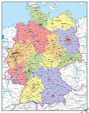 Digitalt politisk kort over Tyskland