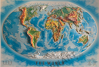 3D Relief Map Panorama World Map