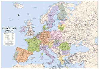 EU European Union Europe Map english XXL 270 x 190cm
